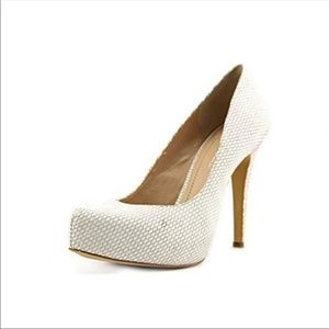 BCBGeneration Parade White Cream Snakeskin Heel
